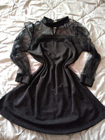 Черна рокля с брокат