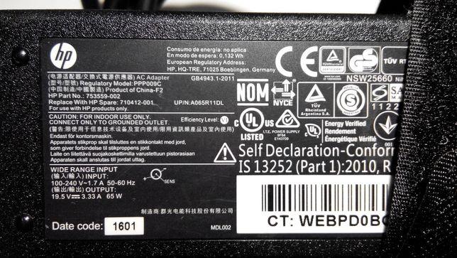 Alimentator HP Original19,5V-3,33A 100-240v PPP009C,Conector 4,5x3mm