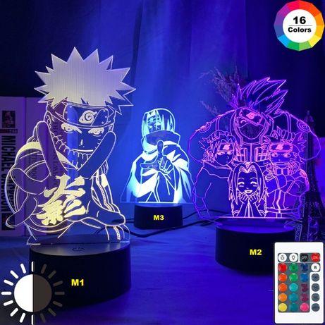 Lampa veioza 3D Naruto Shippuden Kakashi Itachi Sasuke Anime +CADOU!