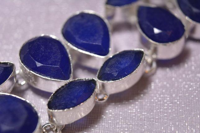 Bratara marcata 925 Argint cu pietre naturale Safir SHAPHIRE albastre