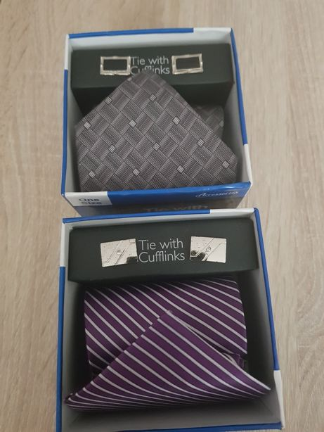 Set cravata cu butoni (mov,gri)