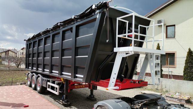 Semiremorca benâ transport cereale / agregate  55m3 basculabila oțel