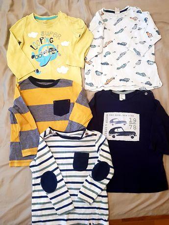 Lot 5 tricouri/bluze maneca lunga, ca noi, H&M, mar.86-92, 18-24 luni