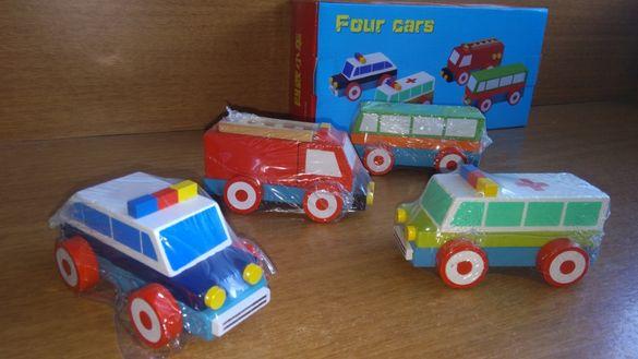 Комплект 4 бр. дървени колички конструктори
