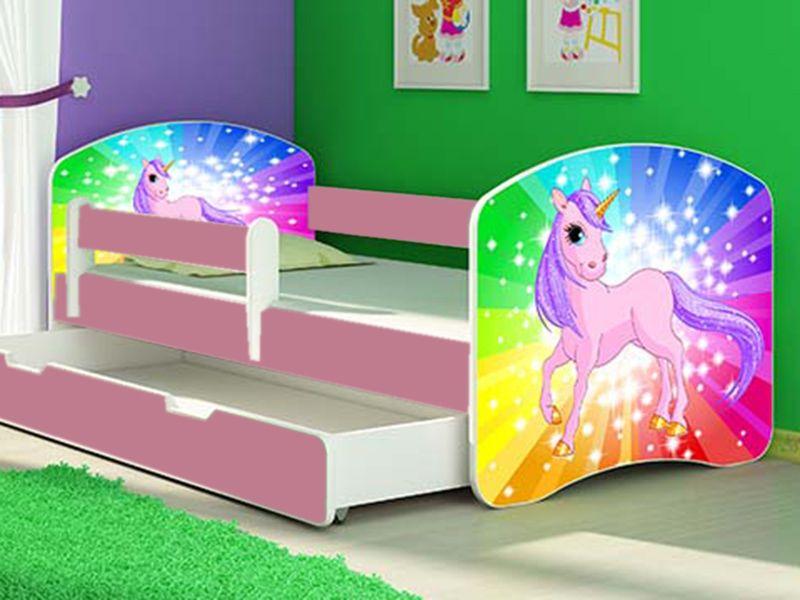 Patut Tineret copii Rainbow Unicorn cu Sertar si Saltea 140x70 Oradea - imagine 1