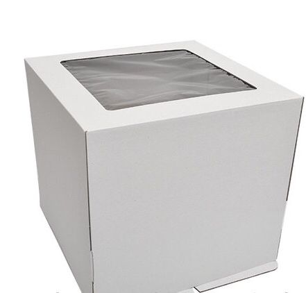 Коробка для торта 25х25х20 и 30х30х25 белая с окном