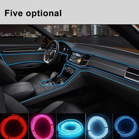 Lumini ambientale auto usi , bord neon 5 mm flexibil, 2 / 3 m Albastru