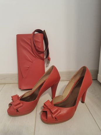 Set Pantofi decupati + Plic + curea - PIELE - Roz Somon