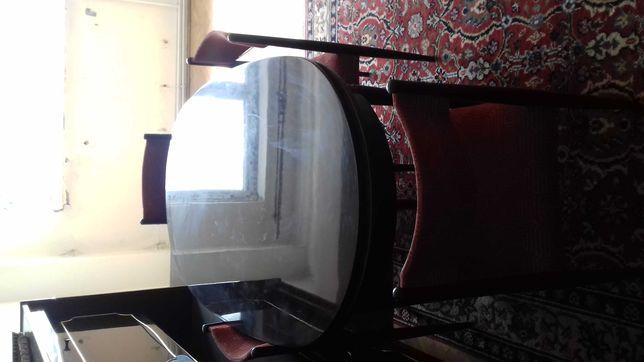 Masa mare ovala cu 6 scaune din lemn