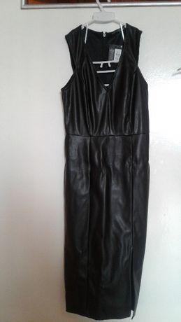 Черна кожена рокля