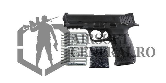 Pistol Airsoft M40 Metal Puternic + 10 Capsule CO2 si Bile Grele
