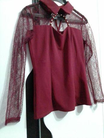 Официална бордо блуза