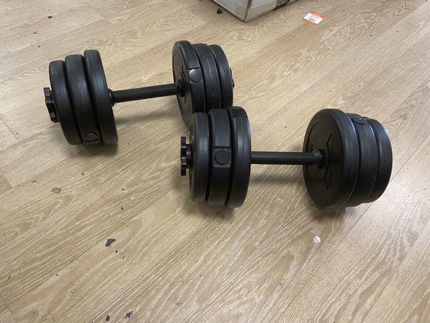 Gantere reglabile noi set de 15 kg ambele 7,5+7,5=15 kg pret 130 ron