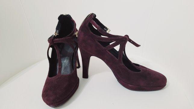 Pantofi piele intoarsa mov 36
