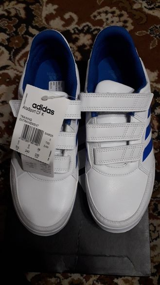 Нови дамски маратонки Адидас Алта Спорт номер 38, бяло + синьо