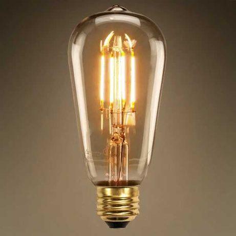 Винтажная  Ретро Лампочка (лампа) Эдисона Светодиодная LED Филаментная
