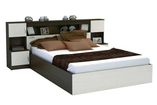 Бася Кровать 1,6м с надстройкой с тумбами (дуб беленый/венге) МИФ