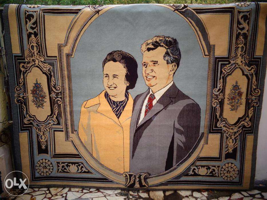 Covor manual lana cu portret Nicolae si Elena Ceausescu Bucuresti - imagine 1