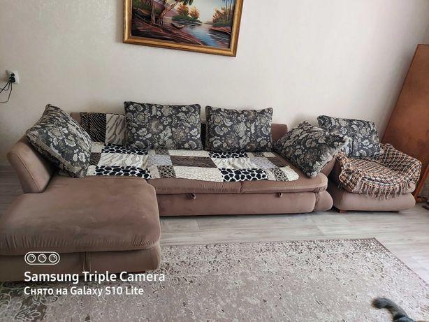 Раскладной угловой диван и кресло