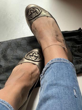 Balerini piele naturala metalica Gucci, marime 39