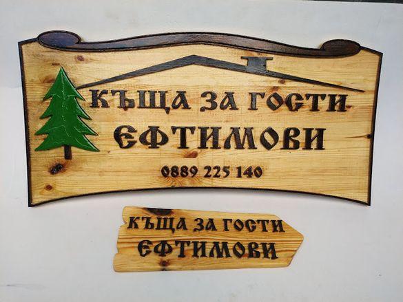 Табела за къща с декорация и указателни табели