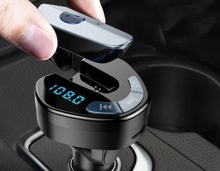 V8 BT/FM Wireless трансмитер с hands-free слушалка, USB + USB Type C