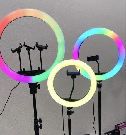 + ПОДАРОК Кольцевая Лампа Цветная Лампа LED RGB 26 / 33 см селфи
