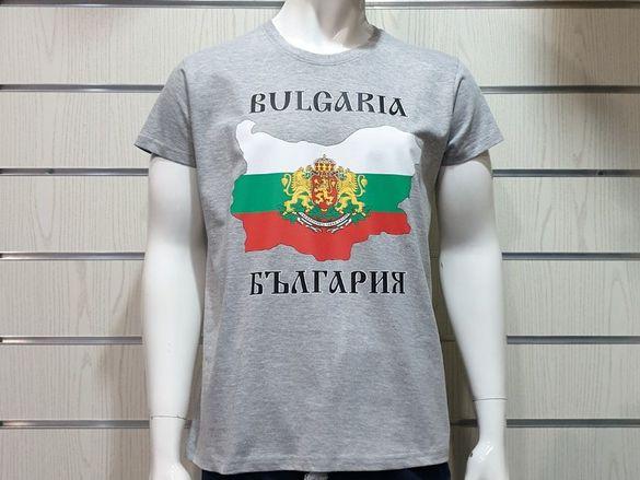 Нова мъжка тениска с щампа българия, с карта и герб на българия