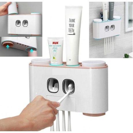 Органайзер за баня с диспенсър за паста, поставка за четки и 3 чашки