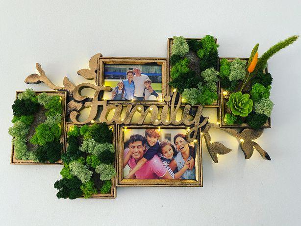 Rama Foto cu Licheni - Family - alba/aurie + Led-uri
