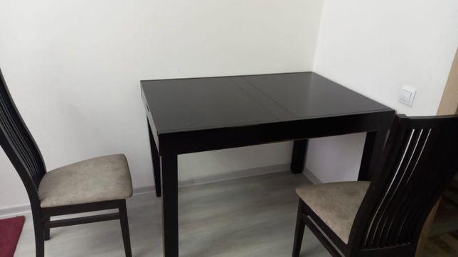Деревянный стол со стульями(8 штук)