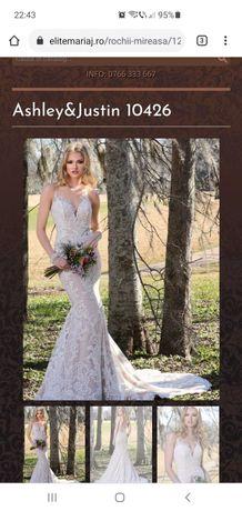 Vand rochie de mireasa model sirena cu trena Ashley & Justin #10426