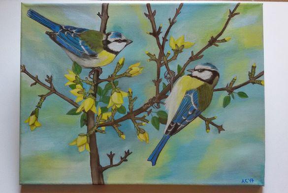 Пролетна картина със синигери - маслени бои върху платно
