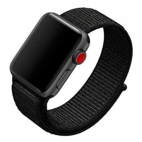 Нейлоновый ремешок на липучке для Apple Watch 42-44mm 1-6 Series Black