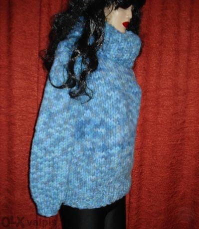 Уникална дебела блуза с голяма яка- ръчно плетена
