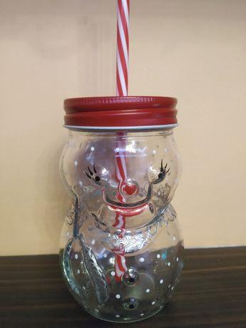 Ръчно рисувана стъклена чаша със сламка