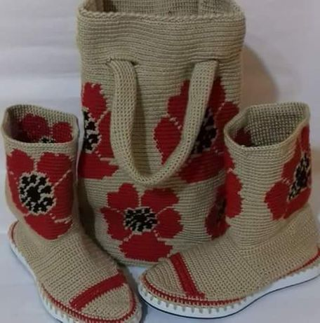 Setul geanta și ghete, cizme crosetate manual