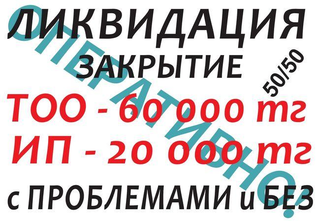 Ликвидация ТОО/ИП, Закрытие Проблемных ТОО/ИП, 50/50