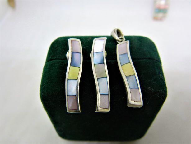set din sidef multicolor, cercei si pandantiv argint