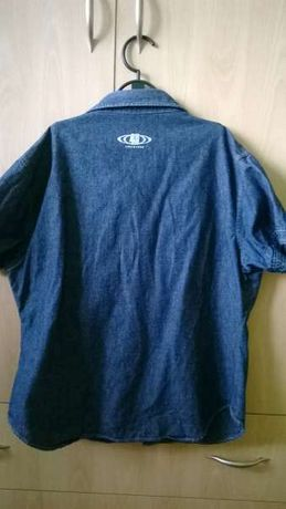 дънкова риза с къс ръкав