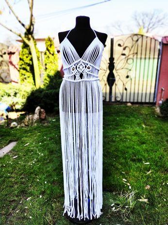 Rochie de plaja, boho macrame, festival dress