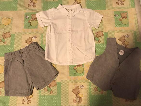 80 р-р H&M Риза, къси панталони и елек