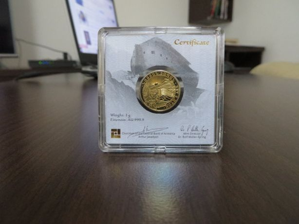 Moneda lingou aur 24K + certificat, Arca lui Noe 1 gram