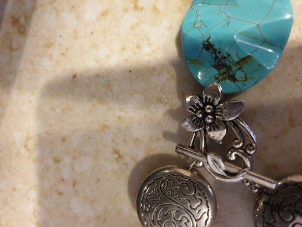 Set colier si bratara vechi cu pietre naturale semipretioase turcuaze