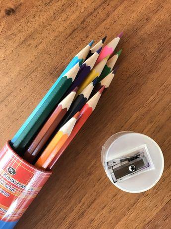 Vand set 12 creioane colorate marca Kaufland + ascutitoare