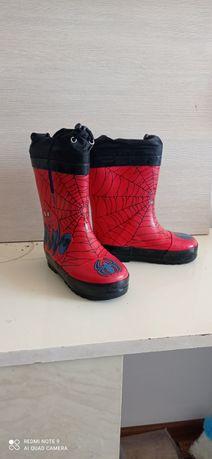 Резиновые сапоги Человек паук. 26 размера. Утеплённые .