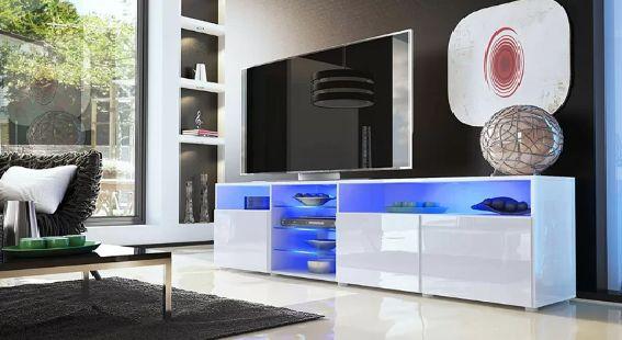 Comoda Tv 200 cm cu Led cu telecomanda MDF sistem soft close Roma