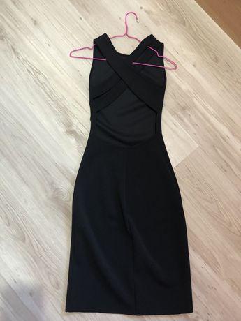 Черна рокля по тялото с интересен гръб Zara