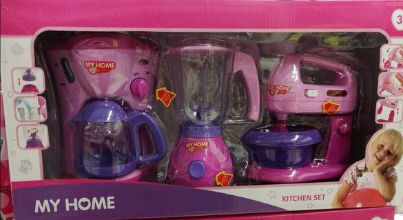 Детски играчки Комплект кухненски уреди миксер кафе машина блендер