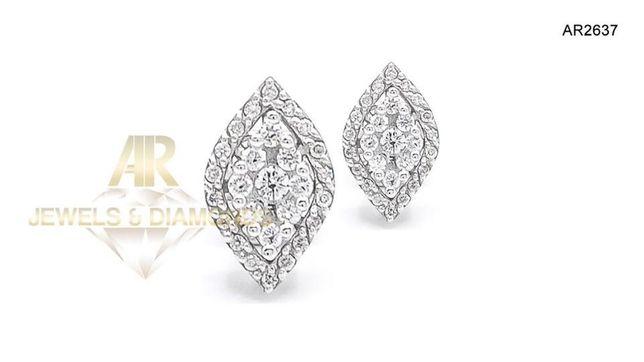 Cercei Aur Alb 18 K cu diamante model nou deosebit AR JEWES(AR2637)